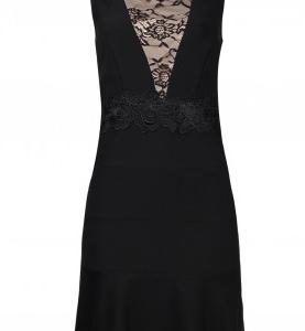 Jax Scalloped Neck Sleeveless Zipper Back Illusion Embellished Lace & Crepe Dress