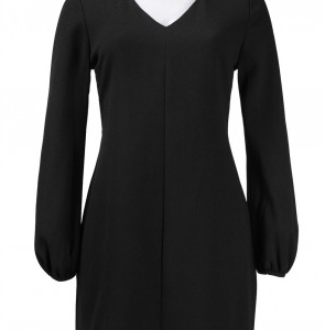 Taylor Puff Long Sleeve V-Neckline Zip Detail Crepe Dress