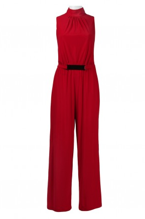 Trendmakers High Neck Sleeveless Keyhole Back Tie Waist Solid Ruched Jersey Jumpsuit