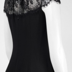 London Times Crew Neck Cap Sleeve Zipper Back Illusion Chiffon & Lace Dress