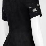 Jax Boat Neck Short Sleeve Illusion Cutout Zipper Back Suede Dress