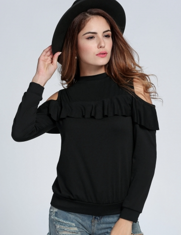 New Fashion Women Off-shoulder Long Sleeve Tops Casual Leisure Solid Slim Ruffles Blouse