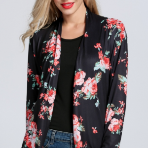 Women's Long Sleeve Open Front Floral Print Casual Loose Cardigan