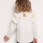 Girls Insect Letters Print Ruffle Shoulder Long Sleeve Top