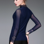 Blue Nylon Ruffled Long Sleeve Mesh T-Shirt