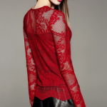 Red Lace V Neck Long Sleeve Lace Up T-Shirt