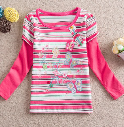 Cute Long Sleeve Round Neck Striped Butterfly Pattern Girl's T-Shirt