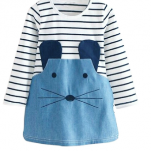 Blue Denim Panel Stripe Mouse Embellished Girl's Jumper