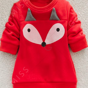 Kids Cartoon Fox Print Thicken Sweatshirt and Pants