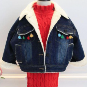 Deep Blue Faux Sherpa Denim Girl's Bomber Jacket