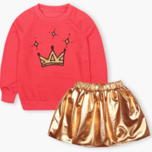 Girl's Crown Sweatshirt + Golden Mini Skirt