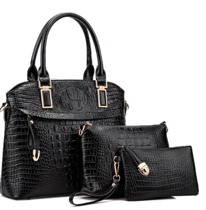 Crocodile Embossed Tote Handbag Wallet Set