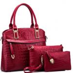 Crocodile Embossed Tote Handbag Wallet Set