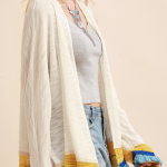 White Contrast Fringe And Crochet Trim Cardigan