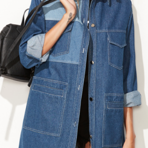 Blue Color Block Multi Pocket Denim Coat