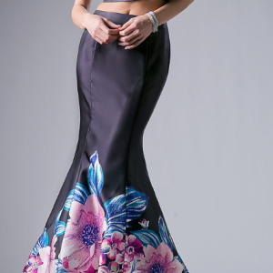 Vixen Flowered Two-Piece Mermaid Evening Gown