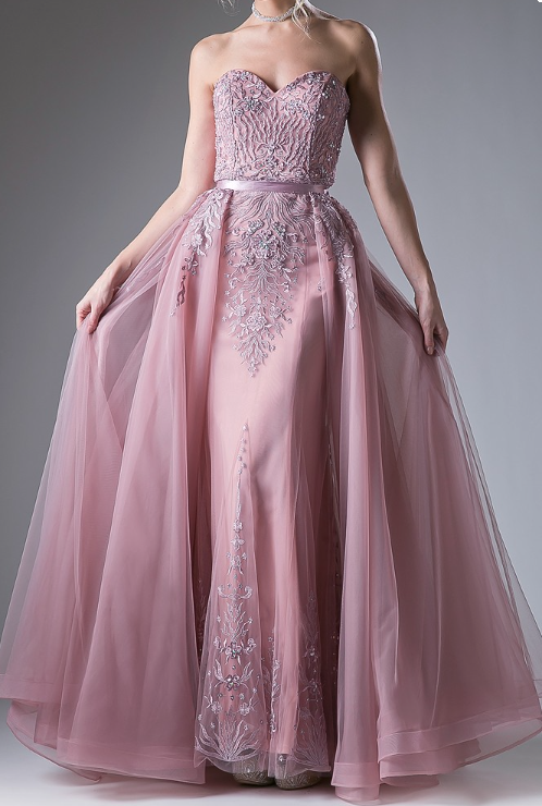 Dusty Rose Beaded Bodice With Full Skirted Prom Dress