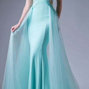 Mint Sweetheart Neck Lace Cut-Out Gown with Mesh Train