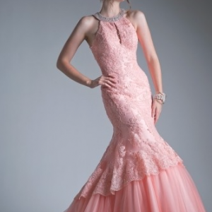 Southern Belle Blush Lace Prom Dress with Mermaid Train