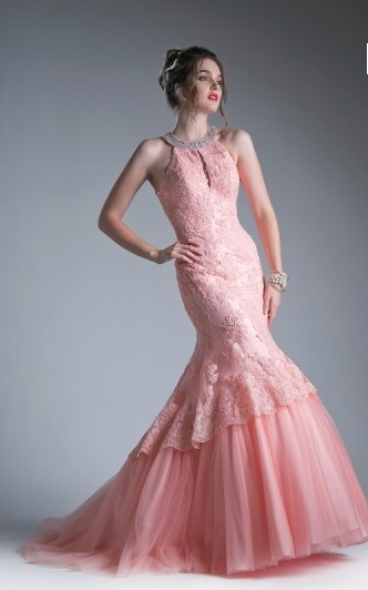 4bb1bd9add7 Southern Belle Blush Lace Prom Dress with Mermaid Train – Deanna Adelle