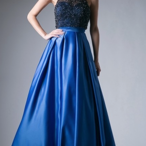 Royal Blue and Black Beaded Halter Top Prom Dress with Full Satin Skirt