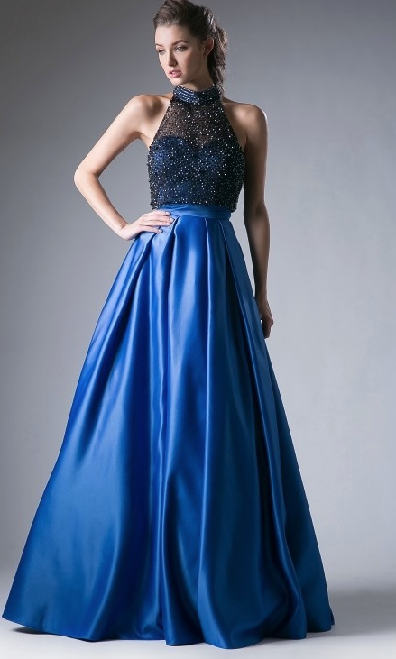 Royal Blue and Black Beaded Halter Top Prom Dress with Full Satin ...