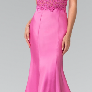 Magenta Lace Sequins Cut-Out Back Prom Dress