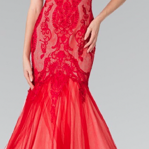 Ruby Red Lace and Tulle Mermaid Prom Dress