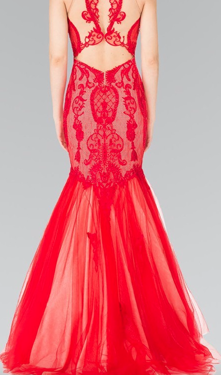05711f76ffe Ruby Red Lace and Tulle Mermaid Prom Dress – Deanna Adelle