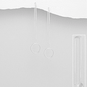 Sterling Silver Drop Circle Earrings