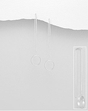 Sterling Silver Drop Circle Earrings