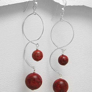 Sterling Silver Double Coral Drop Earrings