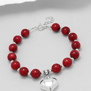 Sterling Silver Coral Beaded Bracelet
