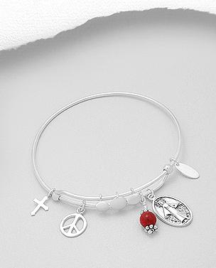 Sterling Silver Coral Teardrop Bracelet