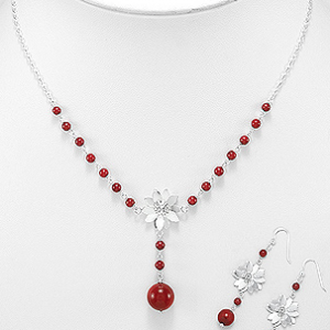 Sterling Silver Coral Flower Necklace