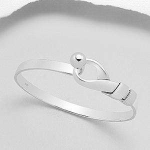 Sterling Silver Love Knot Bangle Bracelet