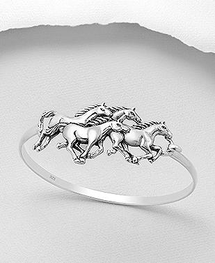 Sterling Silver Wild Horses Bangle Bracelet