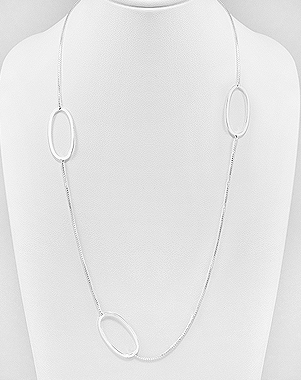 "Sterling Silver 18"" Oval Drop Necklace"