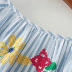 Lantern Sleeve Vertical Striped Tassel Tie Top