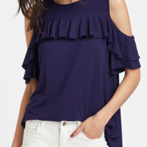 Open Shoulder Ruffe Trim Boxy Tee
