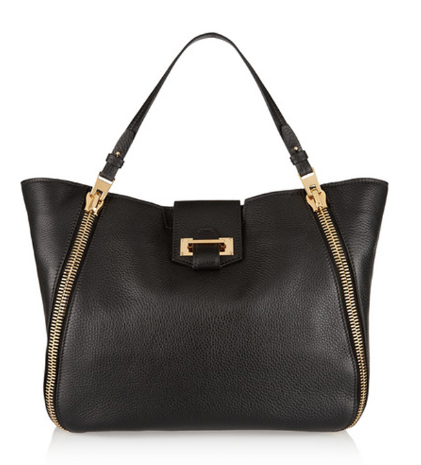 Gabrielle Black Italian Leather Tote