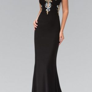 Bejeweled Bodice Illusion Neck and Back with Train Evening Gown