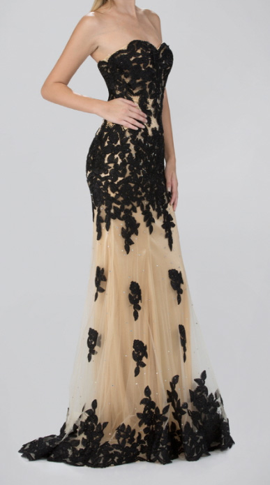 Elegant Black Lace Pearl Evening Gown