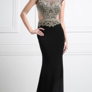 Boat Neck Crystal Sequins Evening Gown