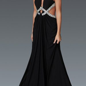 Cut-out Bejeweled Criss-Cross Evening Gown with Sequins