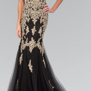 Gold Illusion Waist Lace Sequins Mermaid Evening Gown