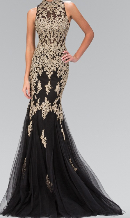 a77b92bbad1 Gold Illusion Waist Lace Sequins Mermaid Evening Gown – Deanna Adelle