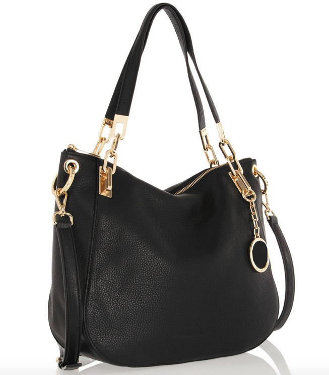 St. Tropes Black Italian Leather Shoulder Bag