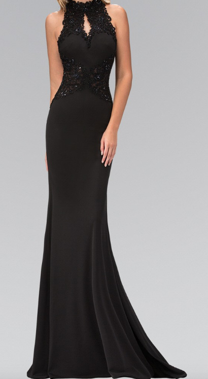 Black Crystal Illusion Waist Embellished Gall Gown