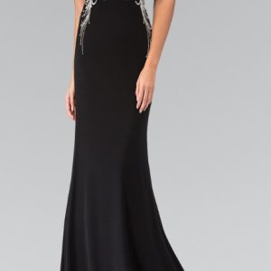 Black V-Neckline Crystal Waist with Sheer Back Evening Gown